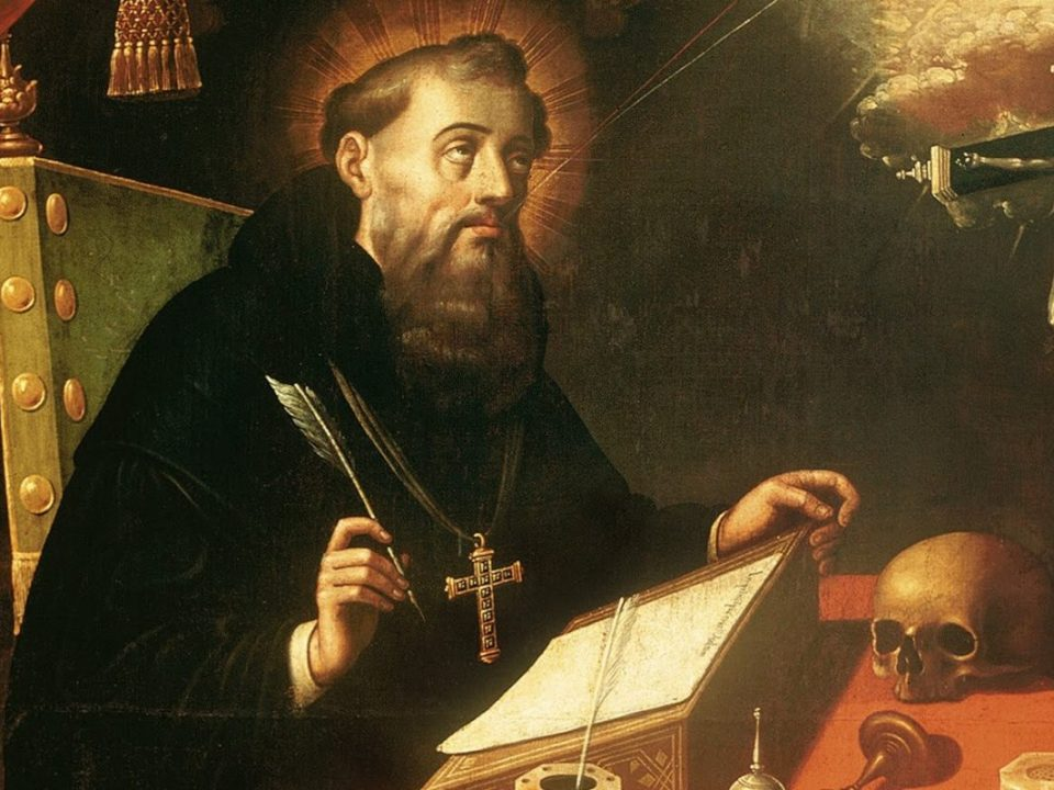 Detail from Augustine, by Antonio Rodriguez, 17th century