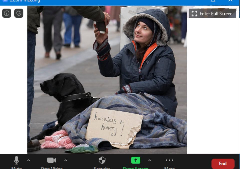 A Zoom image of a homeless person