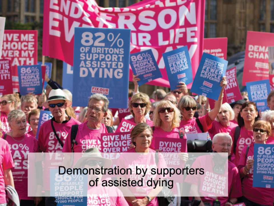Demonstration by supporters of assisted dying