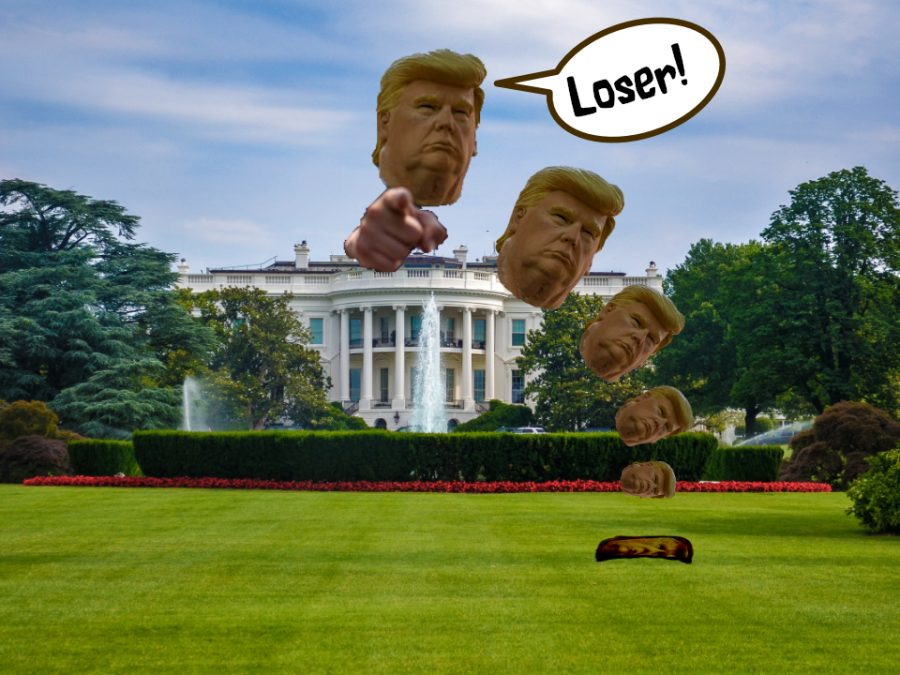 Donald Trump's head falling from the White House