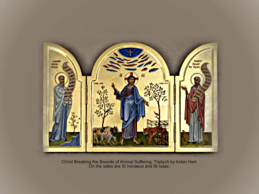 Christ Breaking the Bounds of Animal Suffering. Triptych my Aidan Hart. On the sides are Saints Irenaeus and Isaac