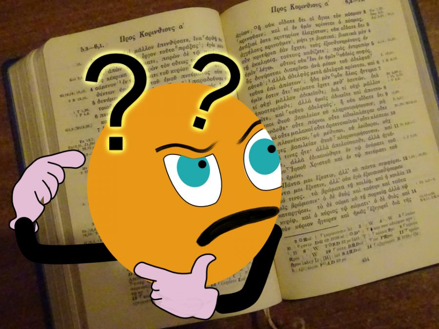 Cartoon face looking at Greek New Testament