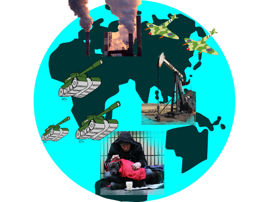 Symbols of war, poverty and environmental destruction against a picture of the world