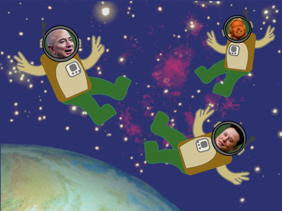 Jeff Bezos, Elon Musk and Richard Branson in space