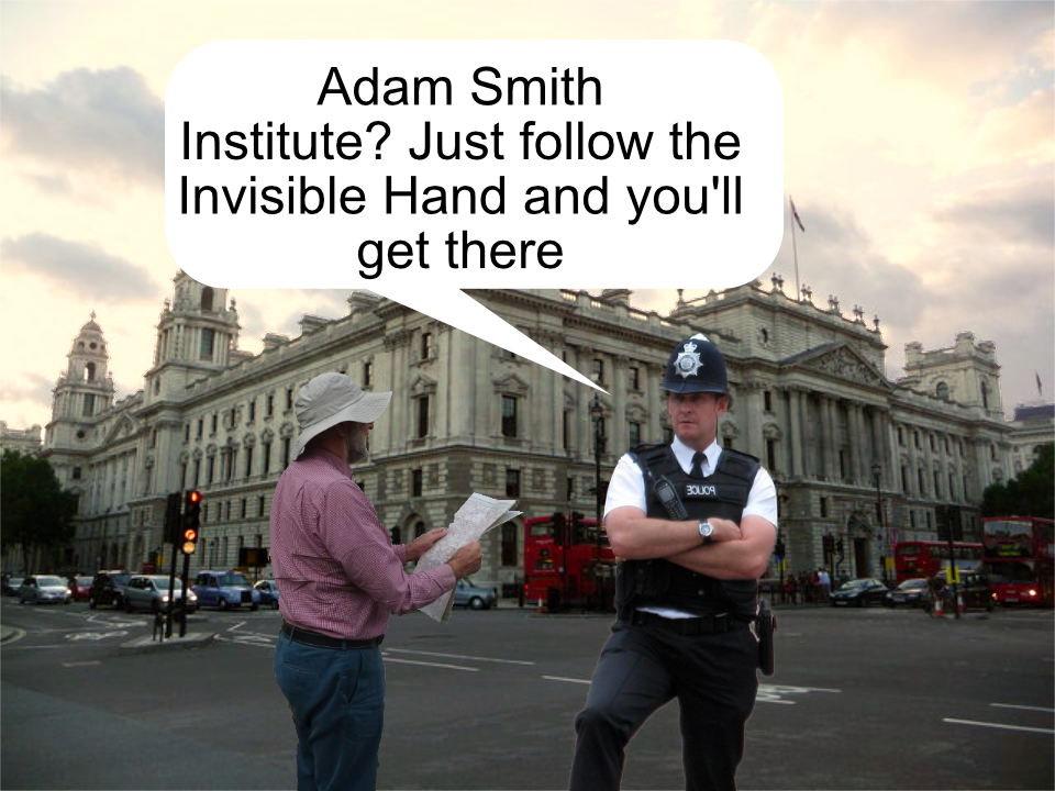 Policeman telling a tourist to follow the invisible hand to find the Adam Smith Institute
